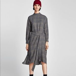 Zara Checked Midi Dress